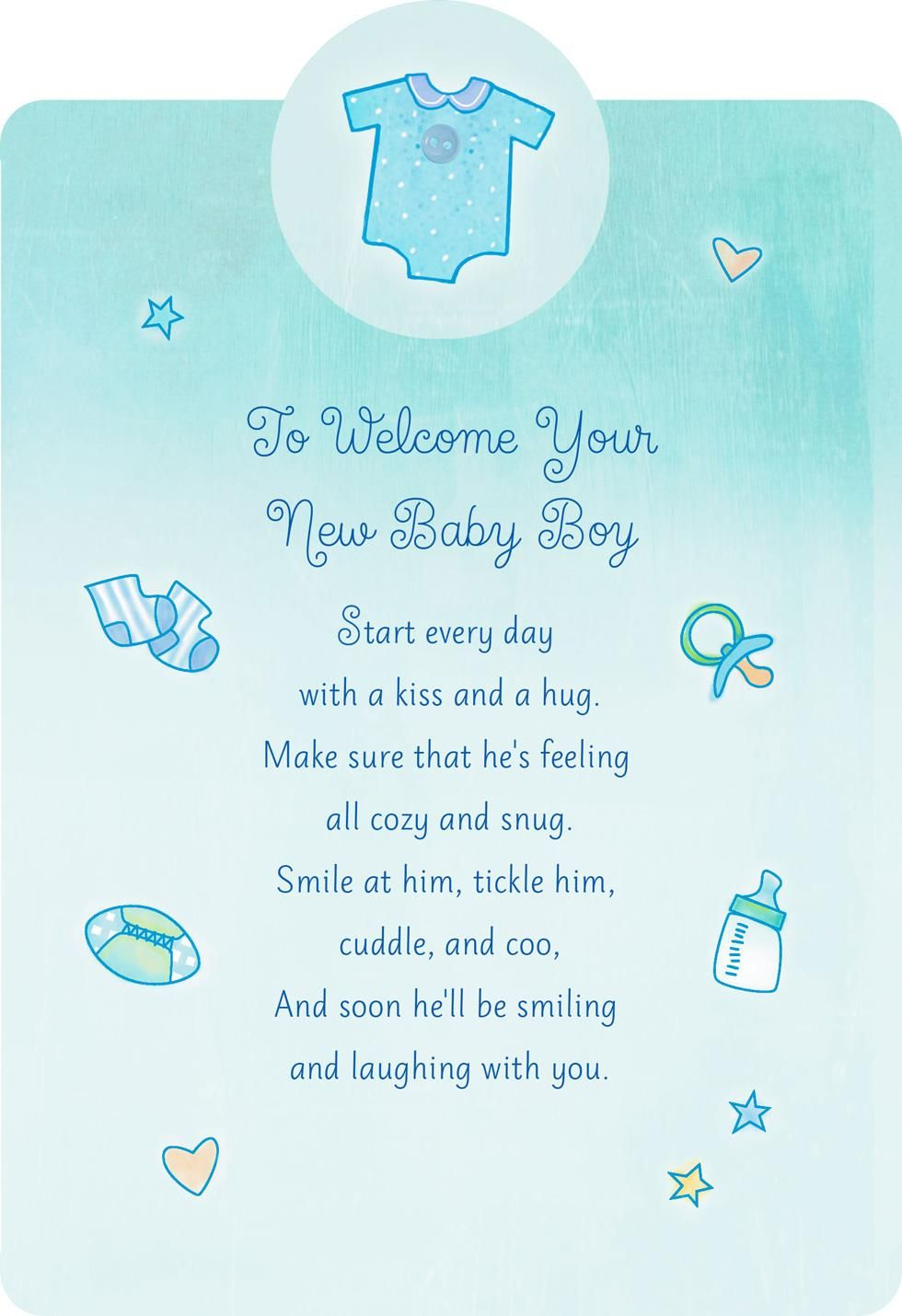 With a Kiss and Hug New Baby Boy Card Baby boy
