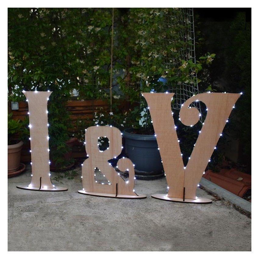 3 letras luminosas de madera 0 80m de alto ideales para - Letras de madera ...