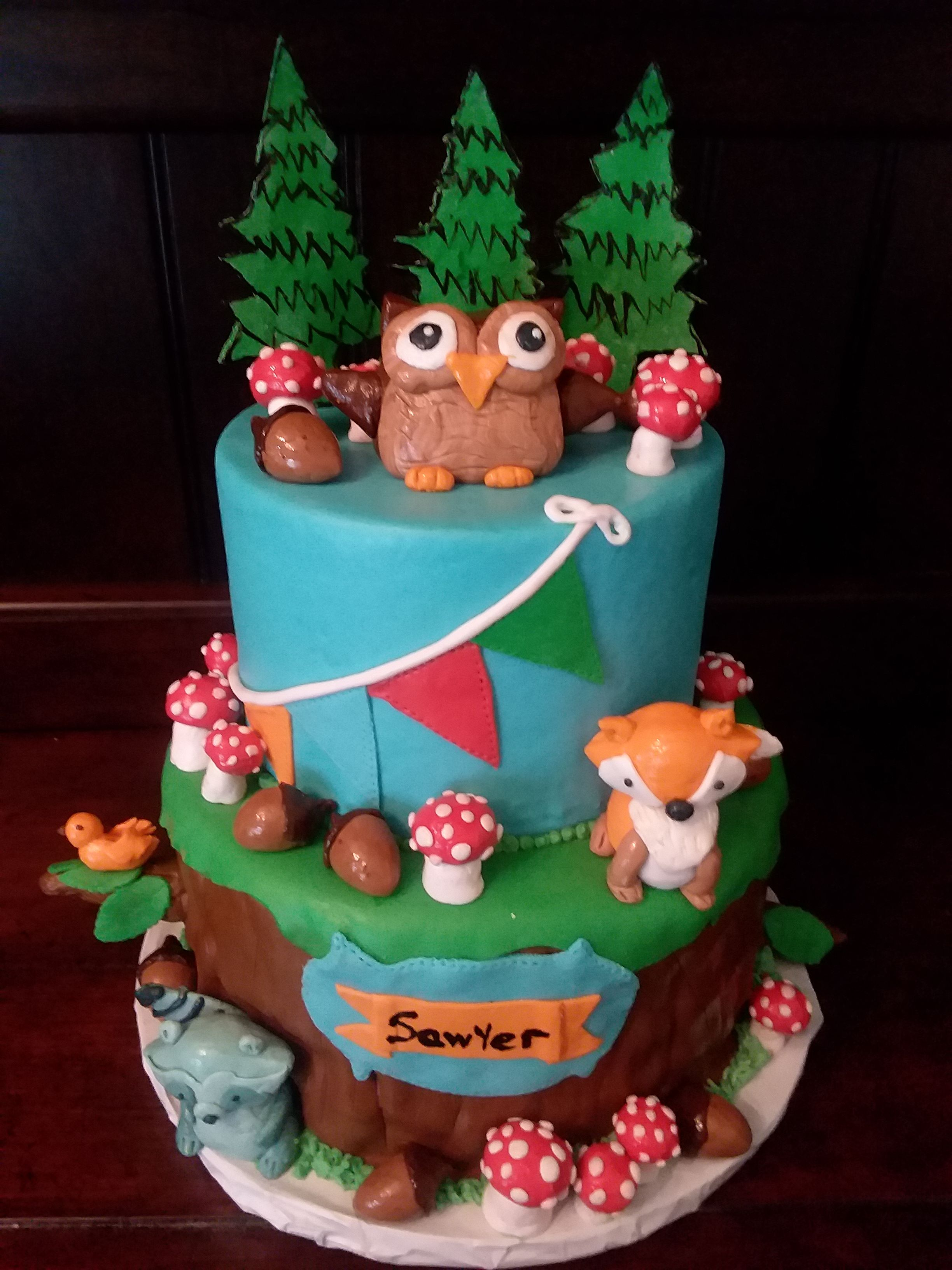 Woodland Owl Fox Coon Acorn Mushroom 1st Birthday Cake Logs Willow