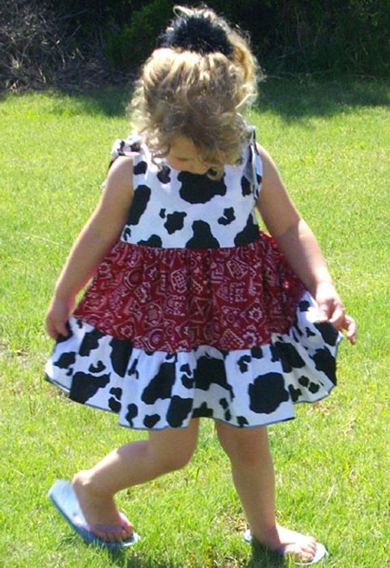 157ba7a9be775 Cowgirl Twirly Sundress Square Dance Dress Cow and Bandana print ...
