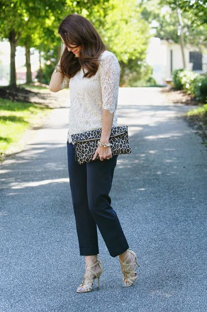 Lace top, navy cropped pants, and Leopard clutch for a dressy fall occasion on Peaches In A Pod blog.