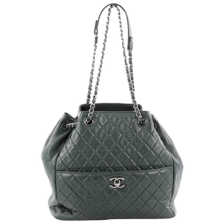 5abd46f11633 Chanel Drawstring CC Lock Bucket Bag Quilted Lambskin Medium