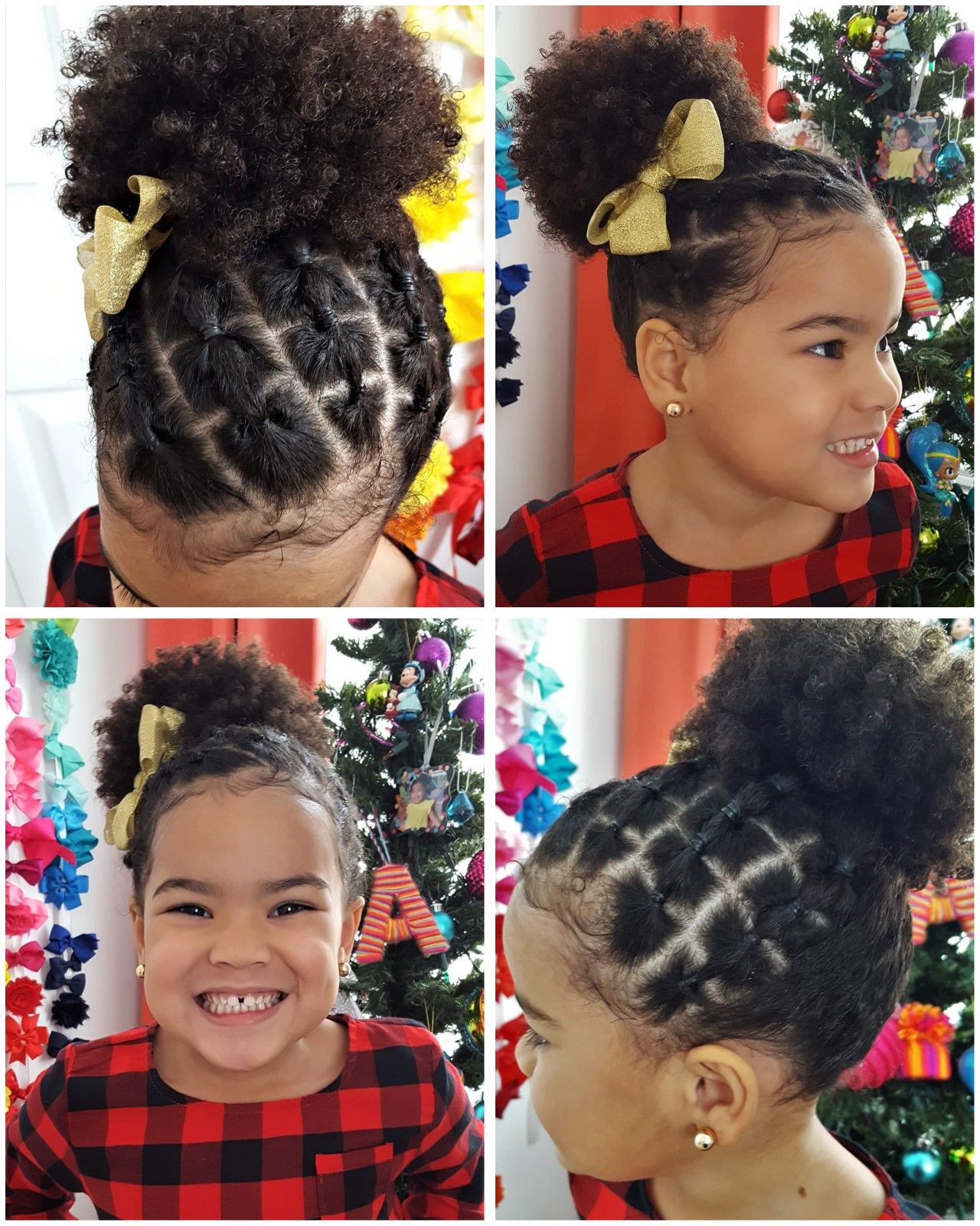 Biracial Girl Hairstyle Easy Square Parts With Rubberbands