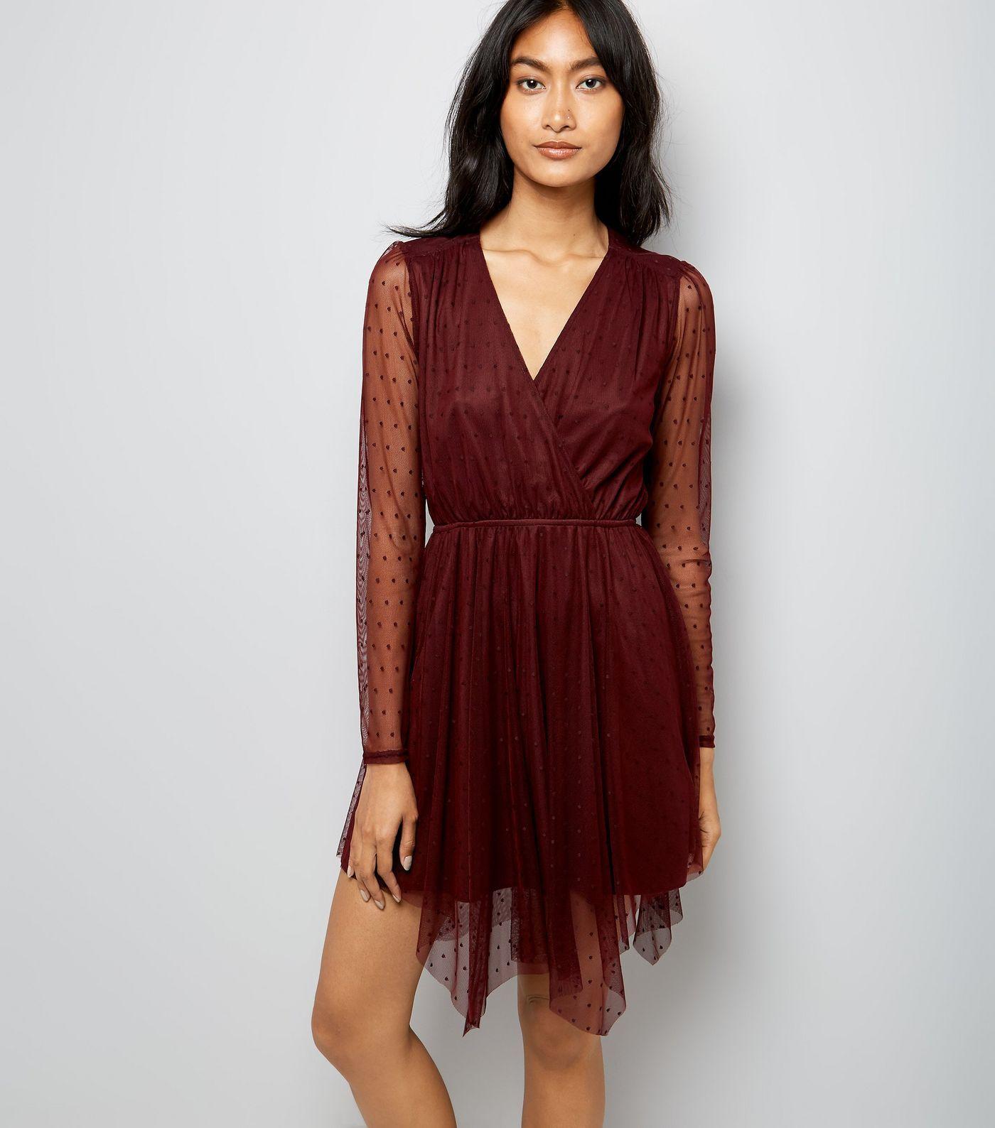 eba66c9b39 Burgundy Spot Mesh Hanky Hem Wrap Front Dress