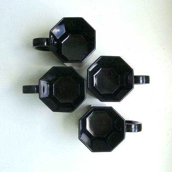 Mod Black Glass Octagon Mugs Octime Arcoroc France 1970's