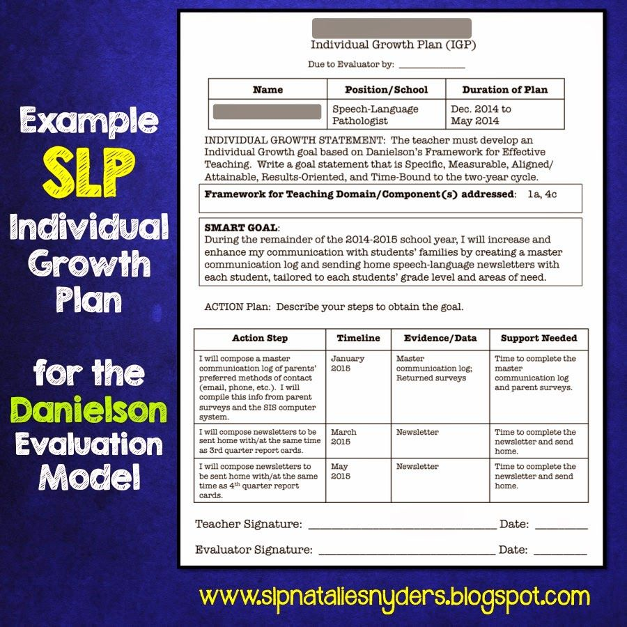Creating an Individual Growth Plan for the Danielson Model as an SLP