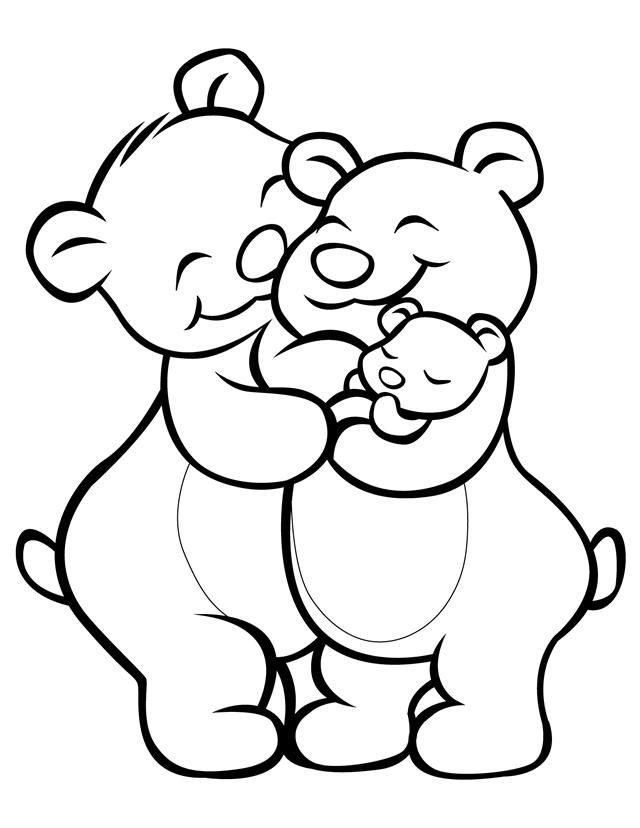 Cartoon coloring pages Bear family Free printable Bears and