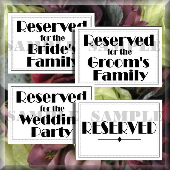 Art deco script reserved wedding signs set of 4 printable instant art deco script reserved wedding signs set of 4 digital diy signs printable download do it solutioingenieria Image collections