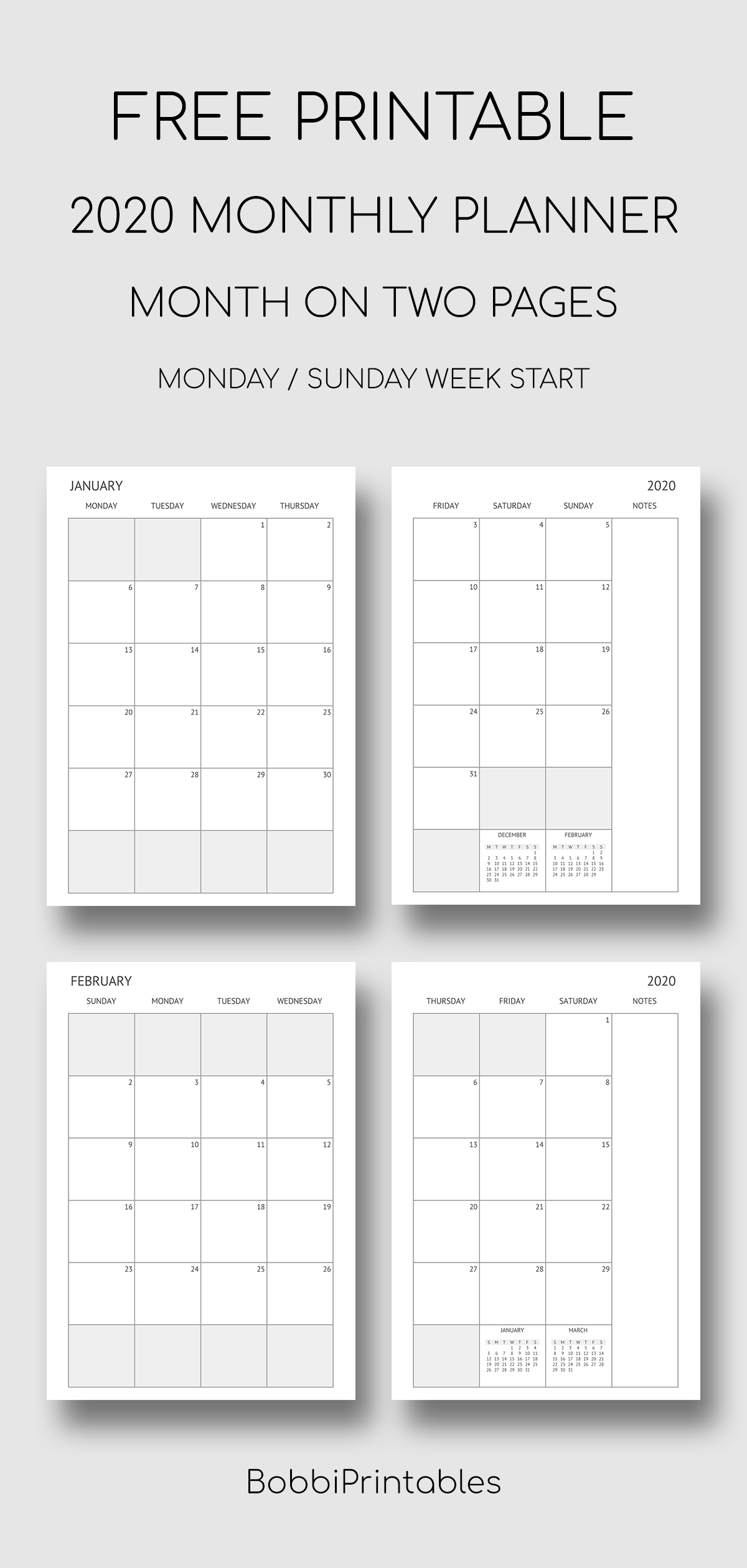 Printable 2020 Monthly Planner In 2020 Free Printable Monthly Planner Free Planner Pages Study Planner Printable Free