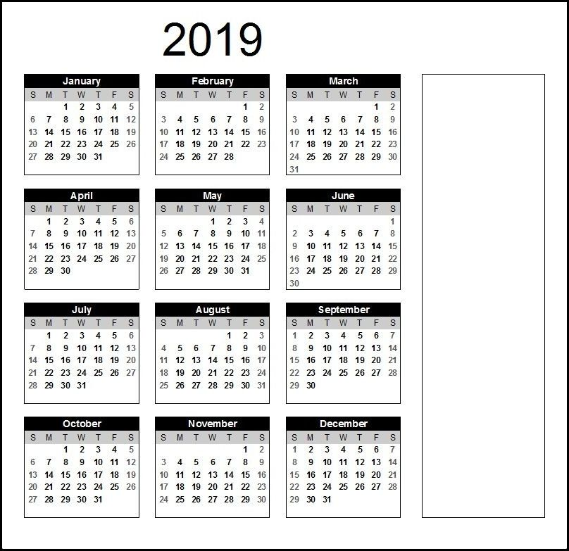 2019 Business Calendar Template With Holidays With Images