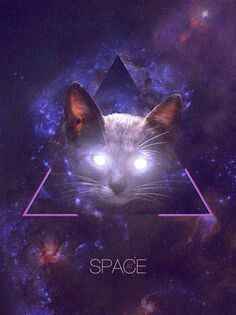 Glowing eyes space cat