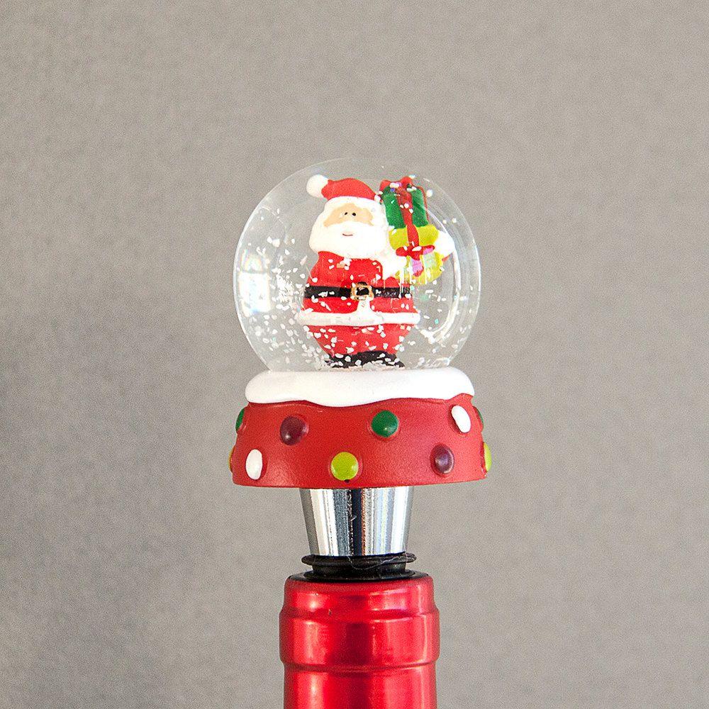 Santa Wine Bottle Stopper Christmas Wine Bottle Stopper Snow Globe Gift For Under 20 By Whachamadoo Santa Wine Bottle Christmas Wine Bottles Christmas Wine