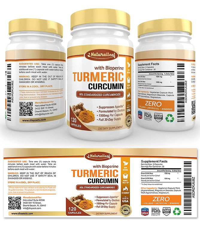 Turmeric Curcumin Supplement Label Template  Creative Brochure