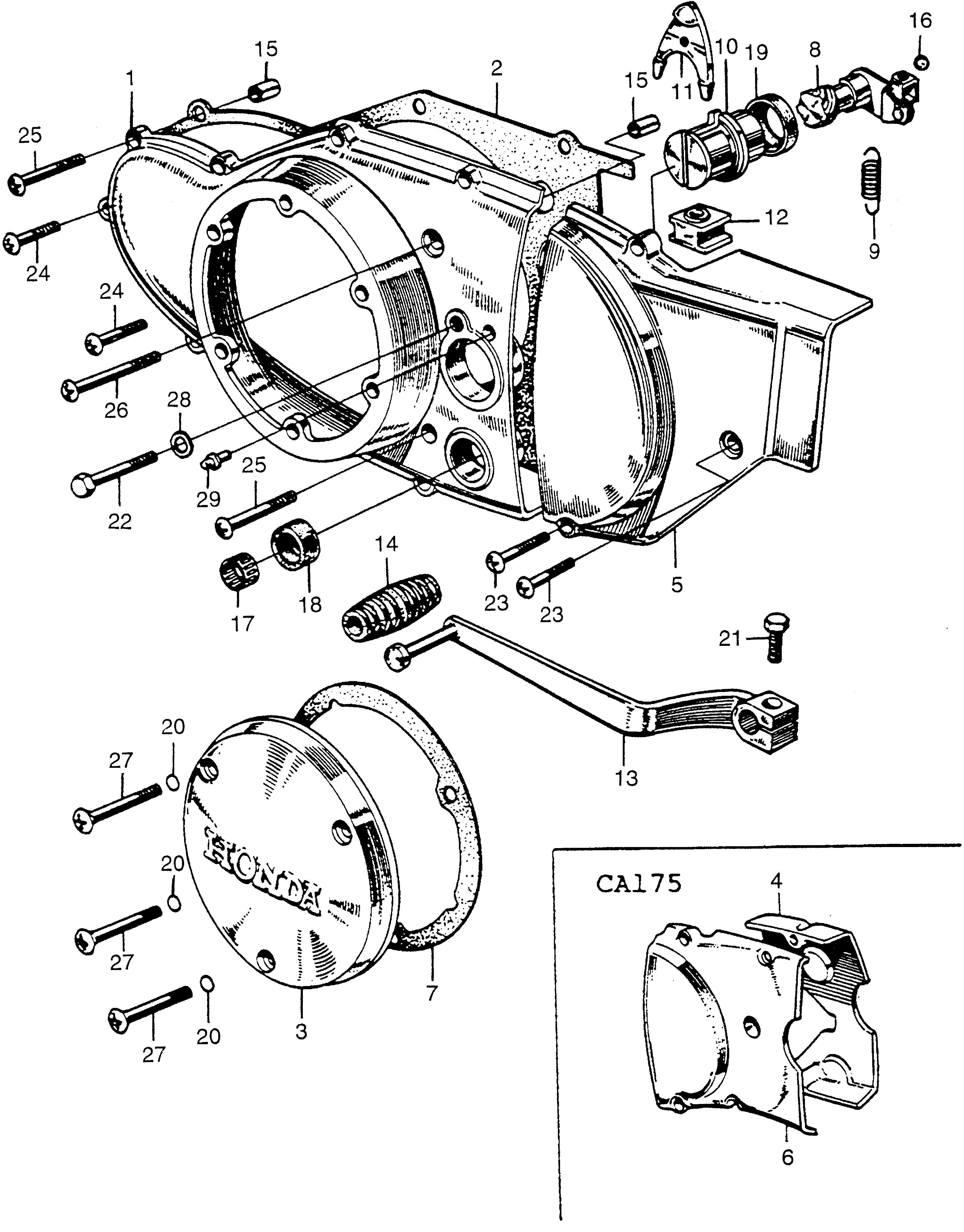 clutch adjuster left crankcase cover fits 1968 honda cl175 van 1968 Honda 450 Motorcycle clutch adjuster left crankcase cover fits 1968 honda cl175 van wall honda powersports