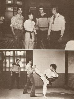 "Bruce Lee, Angela Mao, Bob Wall and Chuck Norris on the set of ""Hapkido""."