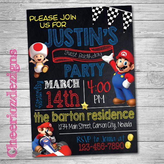 Mario Kart Birthday Invitation Mario Party Boy by CheeriozDezigns