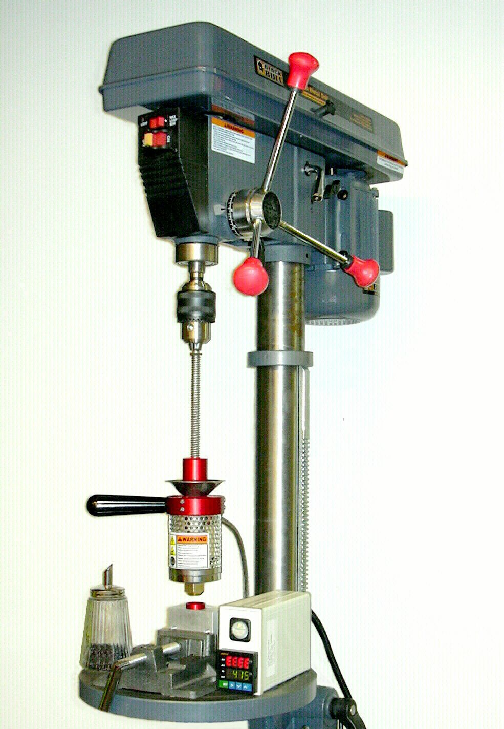 mod a drill press with vice into a plastic injection molding rig ...