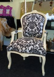 Best Louis Damask Black White Damask Print Chair With A 400 x 300