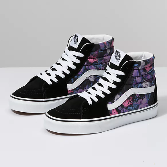Vans Old Skool Warped Floral & Black Skate Shoes   Vans old