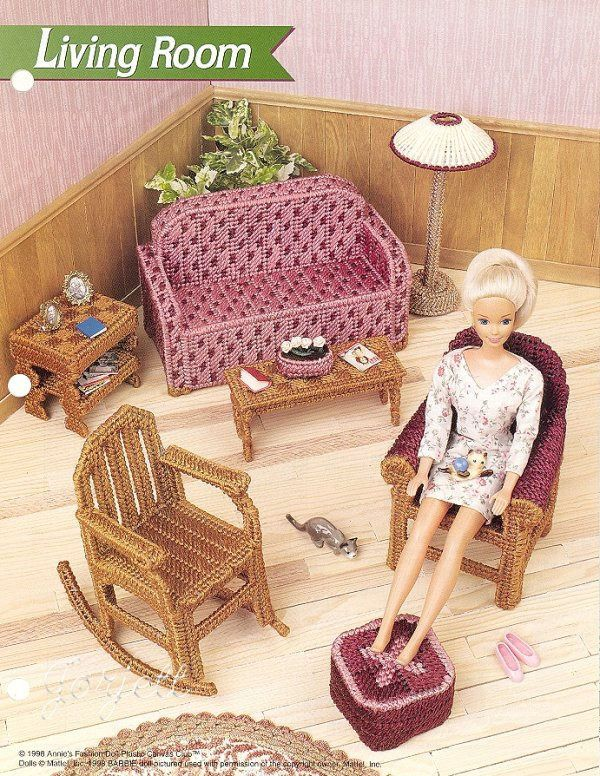 Barbie Doll Picnic Basket Annie/'s Plastic Canvas PATTERN//Instructions Leaflet
