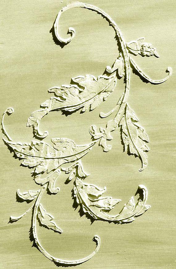 Plaster Stencil Acanthus flourish, Wall Stencil, Painting Stencil, Furniture Stencil
