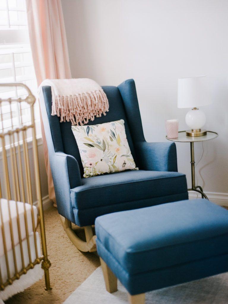 Sweet Pastel Nursery  Rocking chair nursery, Blue nursery girl