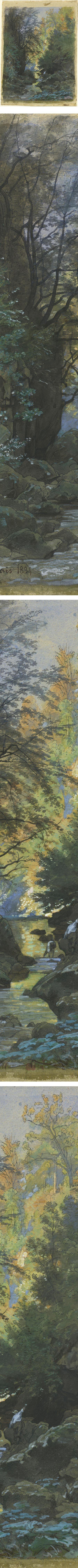 A Stream through a Dense Forest, Francois-Louis Francais, watercolor ...