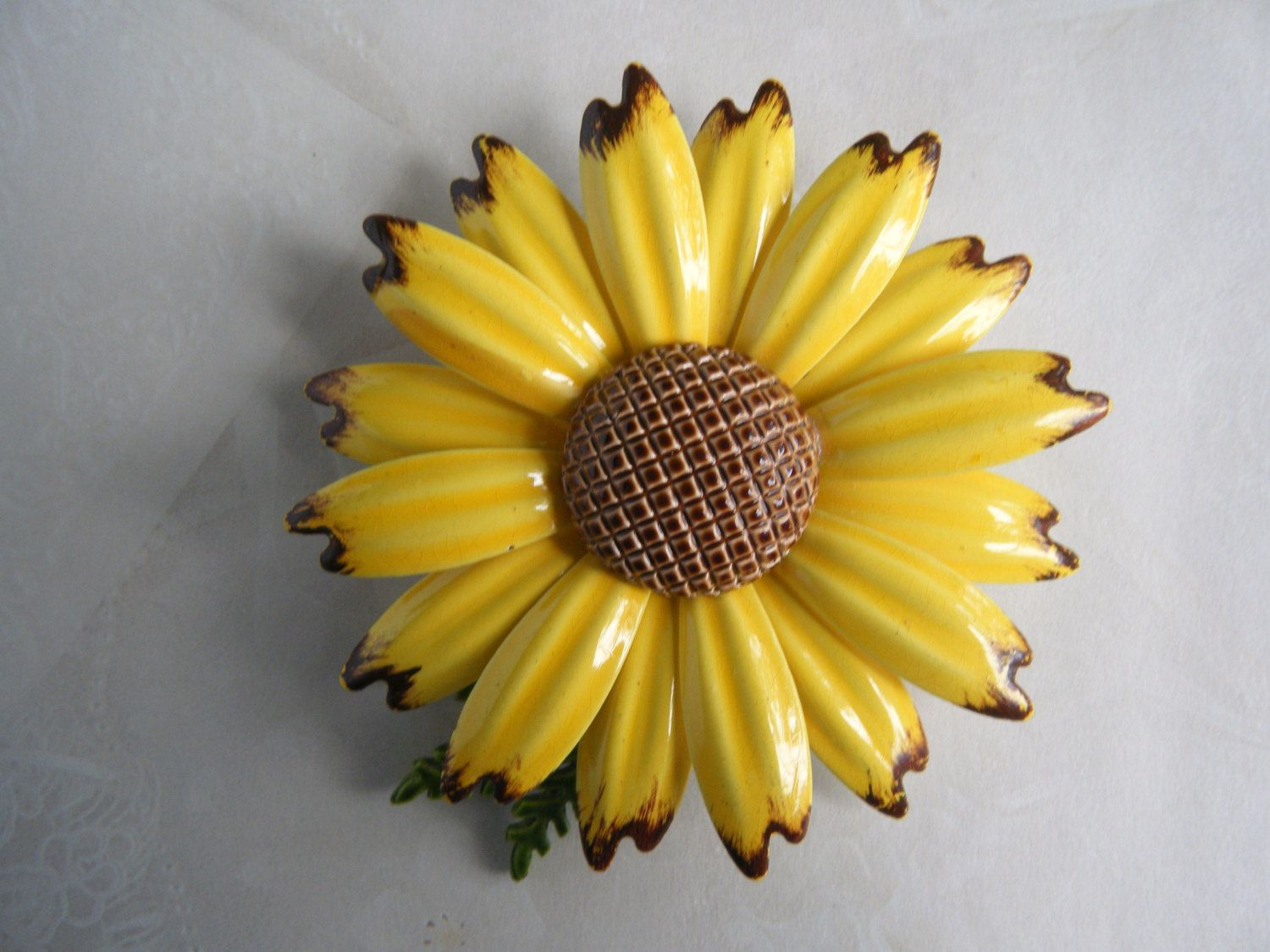 Vintage Sunflower Brooch Large Yellow Sunflower With Brown Center