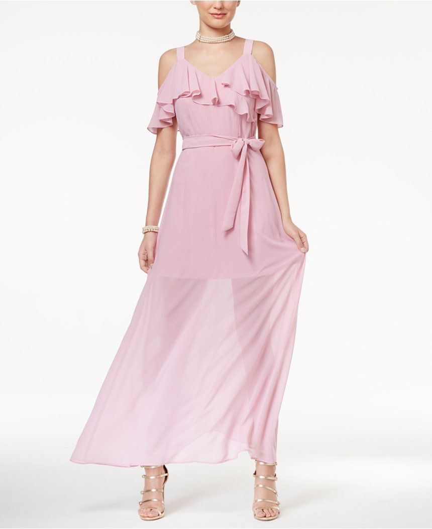 Disney beauty and the beast juniorsu ruffled coldshoulder maxi