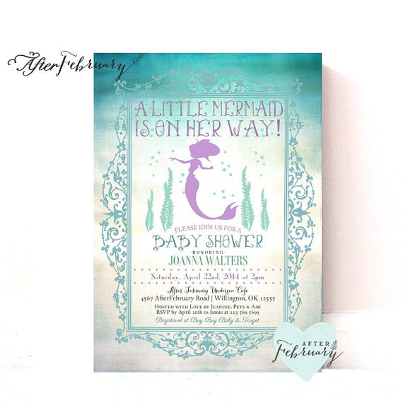Mermaid Baby Shower Invitation Little Mermaid By Afterfebruary