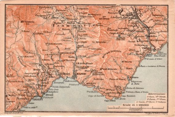 1903 Map Of Amalfi Coast Antique Map Vintage By Craftissimo