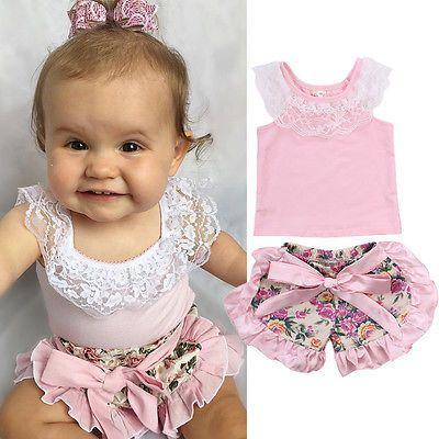 Niño del Bebé Ropa de La Muchacha Tops de Encaje t-shirt + Shorts Florales Culottes Trajes Ropa Niños Set Costume 0-24 M