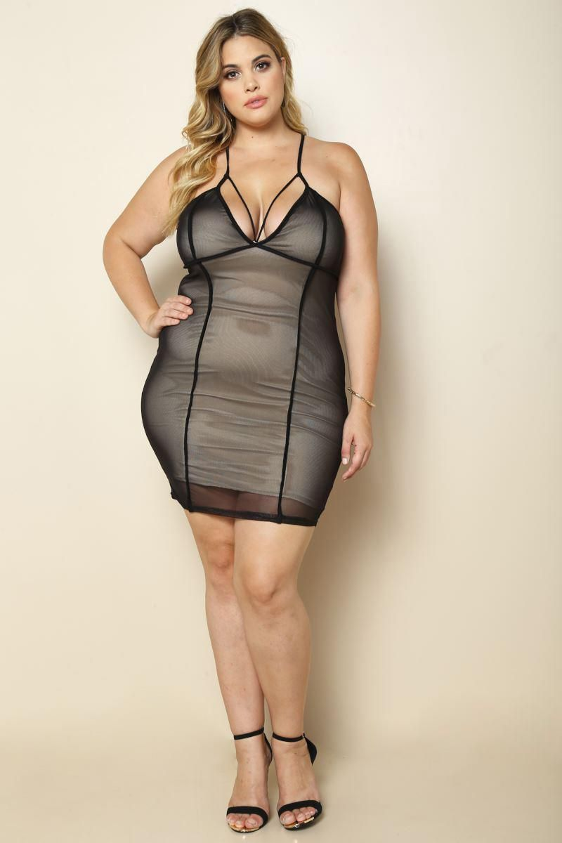 Black Sheer Overlay Club Party Plus Size Bodycon Dress  70df8c1d6b37