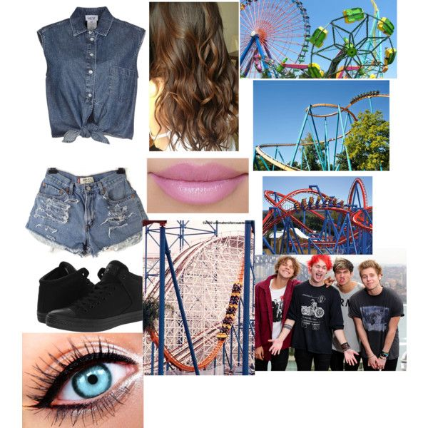 Going to six flags with the boys! by jocelintomlinson on Polyvore featuring polyvore fashion style Jean-Paul Gaultier Converse Goliath