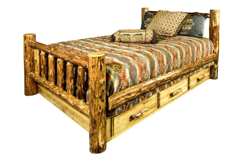 Ca King Log Bed Frame With Drawers Rustic Lodge Cabin Furniture Amish Made Handmade Lodge Bed Frame With Drawers