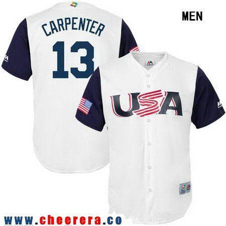 Men's Team USA Baseball Majestic #13 Matt Carpenter White 2017 World Baseball Classic Stitched Authentic Jersey