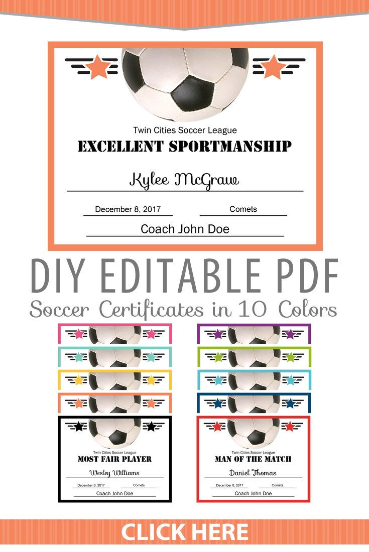 Editable PDF Sports Team Soccer Certificate Award Template In 10 Colors  Letter Size Instant Download