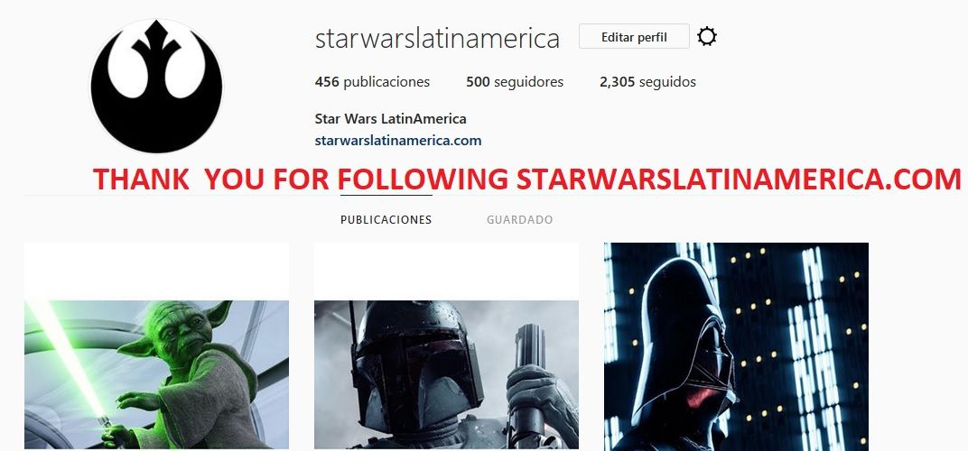 Thank you for Following STARWARSLATINAMERICA.COM !!!!