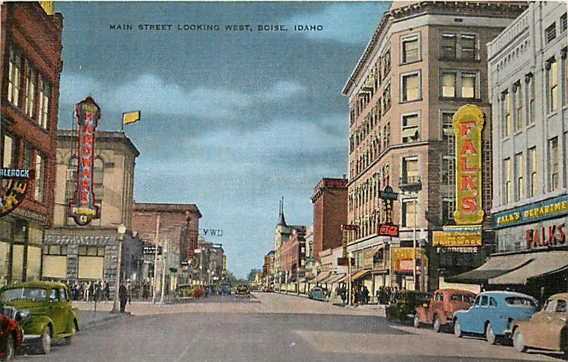 Main Street Boise Idaho Street Scene 1950's Cars Vintage Linen Post