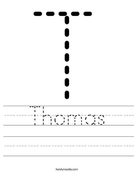 Thomas Worksheet D Nealian Twisty Noodle Name Tracing Worksheets Worksheets Letter T Worksheets