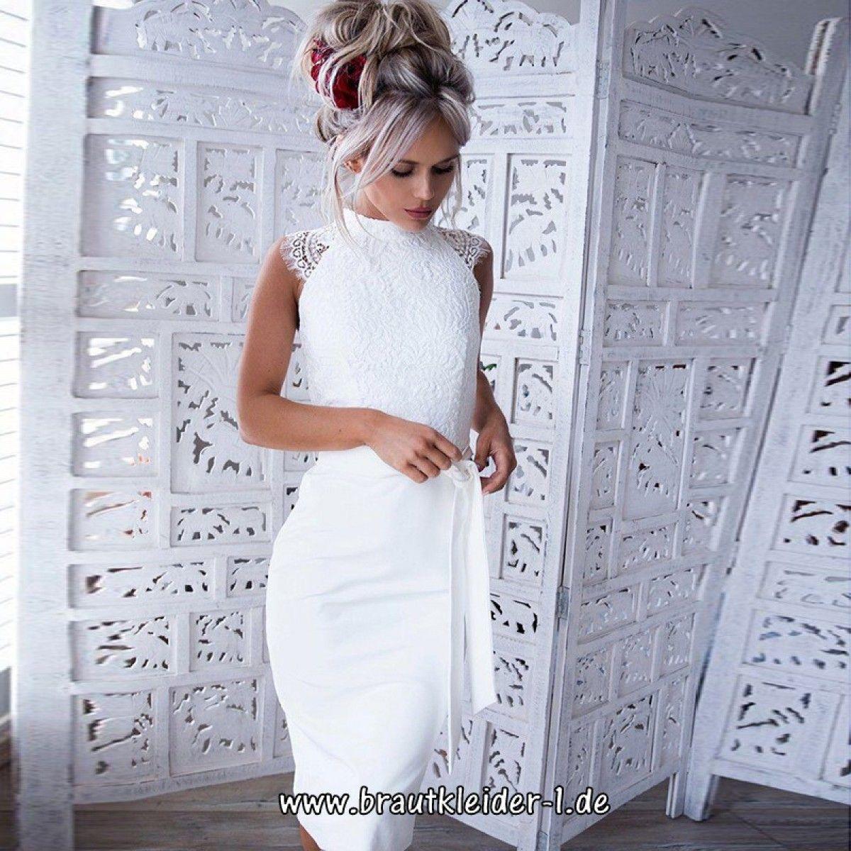 Midi Bleistift Kleid 11 für den Standesamt in Weiß mit Spitze