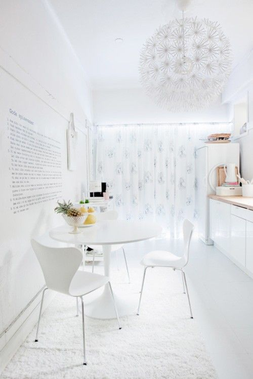 White dining, white kitchen.