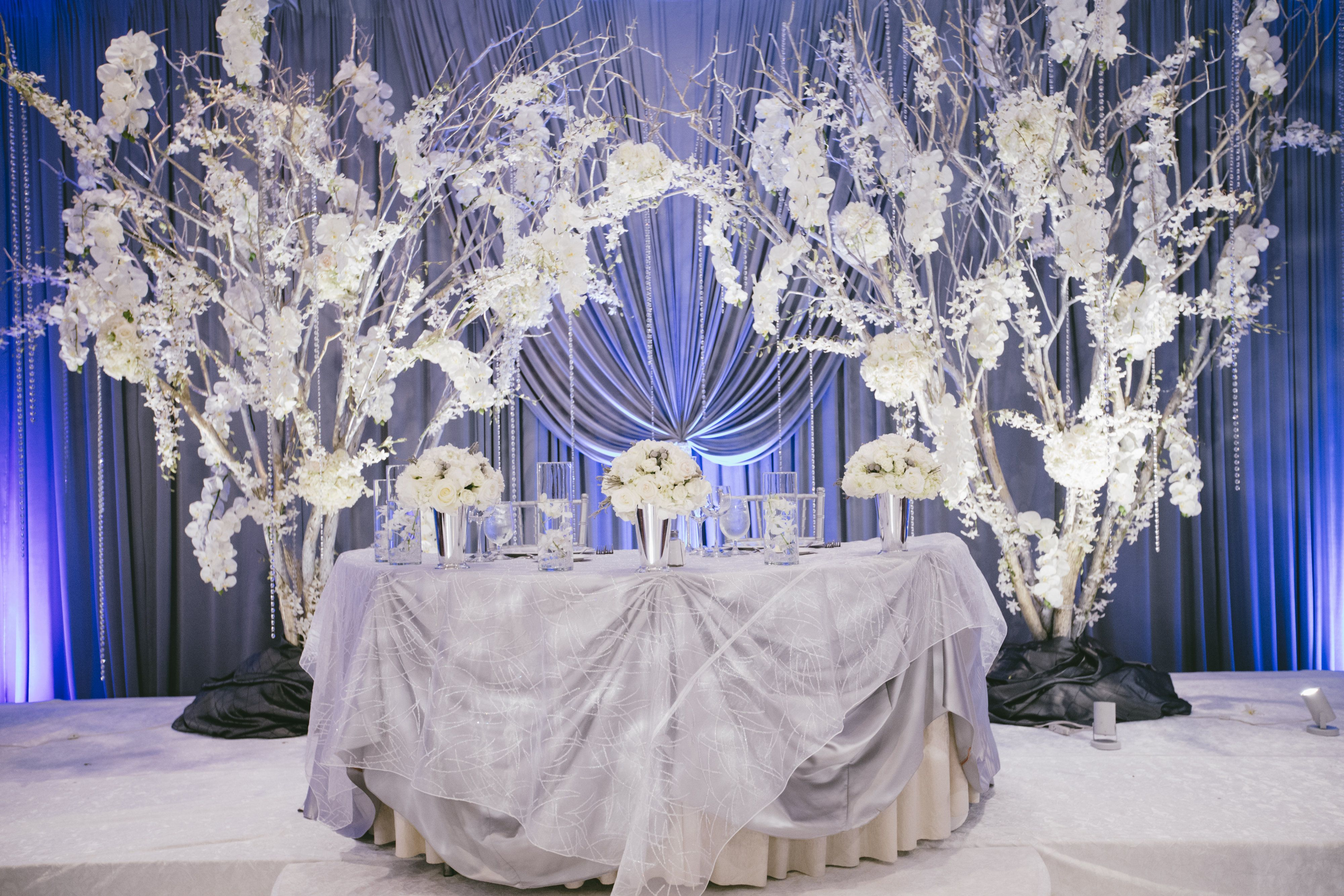 Winter Wedding Bridal Stage Decor Sweetheart Table Decor For