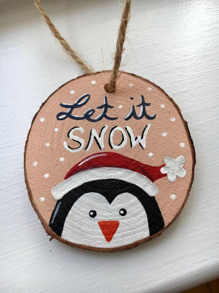 Penguin wood slice ornament