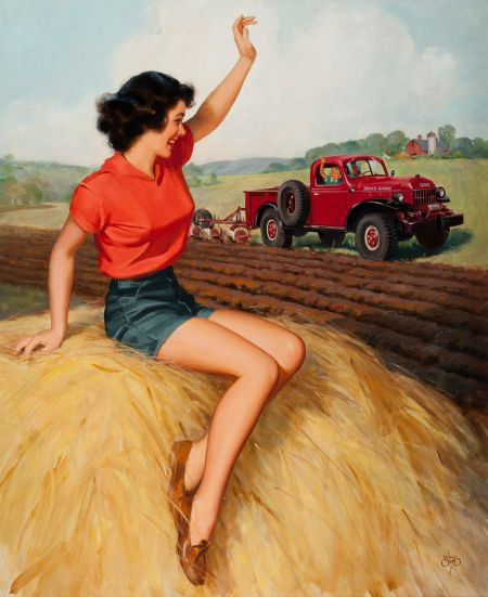 Pin-up and Glamour Art, WALT OTTO (American, 1895-1963). Waving to the Tractor.