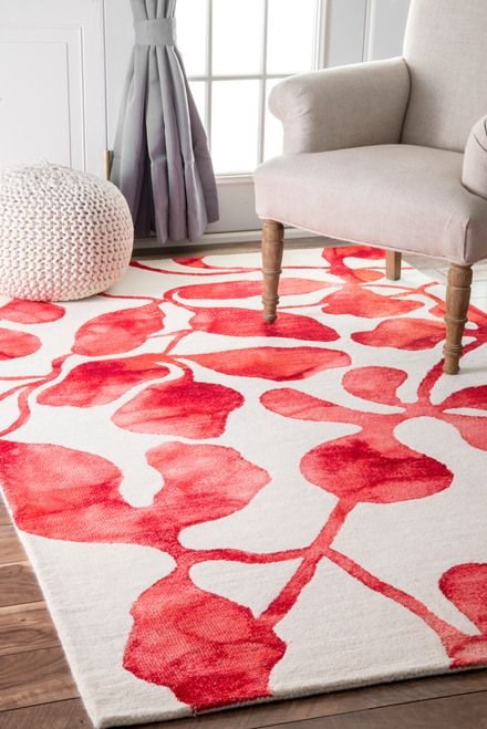 Rugs USA Red Dip Dyed Faded Abstract Lush Leaves Rug | Stuff to Buy ...