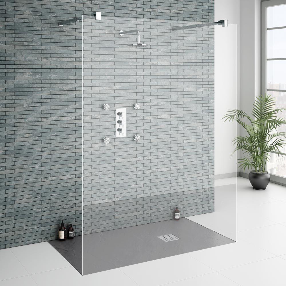 Imperia 1400 x 900mm Graphite Slate Effect Rectangular Shower Tray + ...