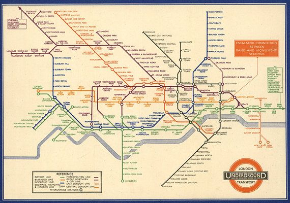 Vintage+London+Tube+Map+digital+download+Vintage+Poster+Print | Bit ...