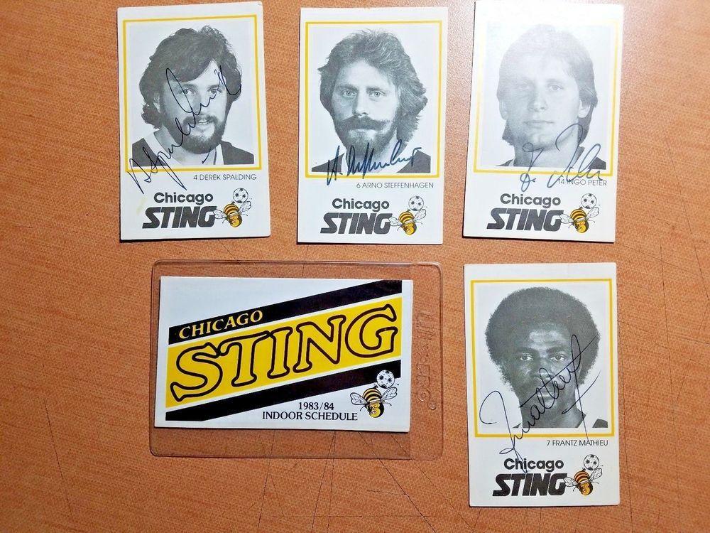 CHICAGO STING SOCCER 1981 lot of 4 SIGNED Ovaltine card