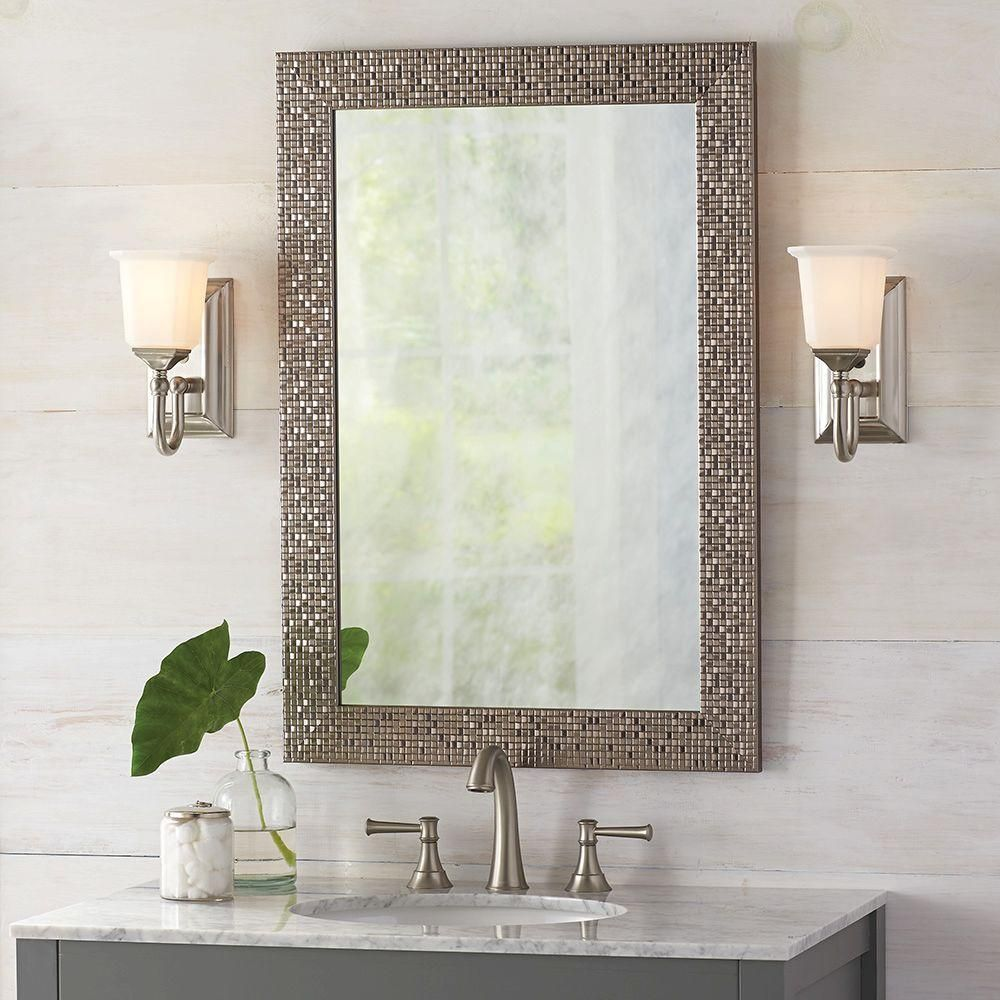 Home Decorators Collection 24 35 In W X 35 35 In L Framed Fog Free Wall Mirror In Silver Mirror Wall Mirror Wall Bedroom Silver Wall Mirror